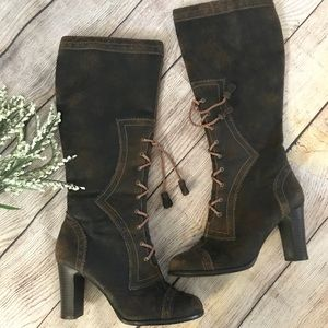 """Mudd Brown Lace Up Western Riding Boots Heel 3.5"""""""